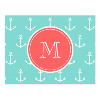 Mint Green White Anchors Pattern, Coral Monogram Postcard