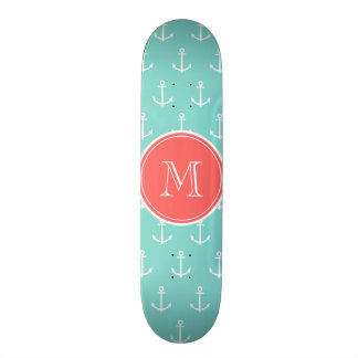 Mint Green White Anchors Pattern, Coral Monogram Skateboard