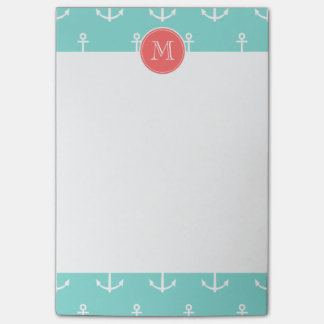 Mint Green White Anchors Pattern, Coral Monogram Post-it® Notes