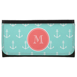 Mint Green White Anchors Pattern, Coral Monogram Wallet For Women