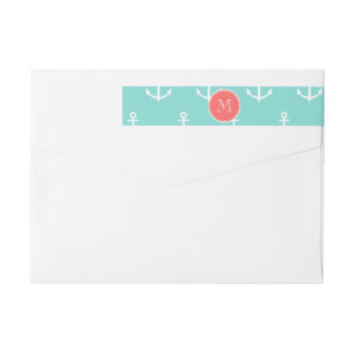 Mint Green White Anchors Pattern, Coral Monogram Wraparound Return Address Label
