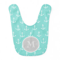 Mint Green White Anchors Pattern, Gray Monogram Baby Bib
