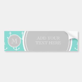 Mint Green White Anchors Pattern, Gray Monogram Bumper Sticker
