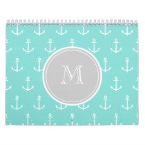 Mint Green White Anchors Pattern, Gray Monogram Calendar
