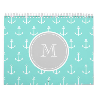 Mint Green White Anchors Pattern, Gray Monogram Calendar