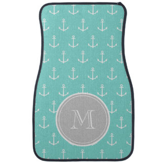 Mint Green White Anchors Pattern, Gray Monogram Floor Mat
