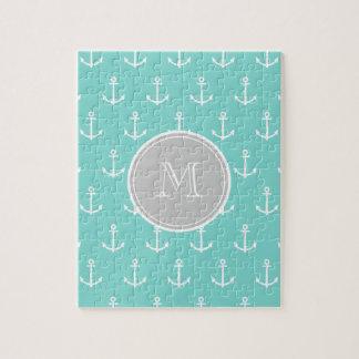 Mint Green White Anchors Pattern, Gray Monogram Jigsaw Puzzle