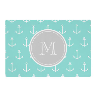 Mint Green White Anchors Pattern, Gray Monogram Laminated Placemat