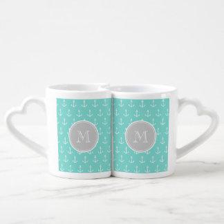 Mint Green White Anchors Pattern, Gray Monogram Lovers Mug Set