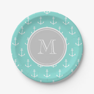 Mint Green White Anchors Pattern, Gray Monogram 7 Inch Paper Plate