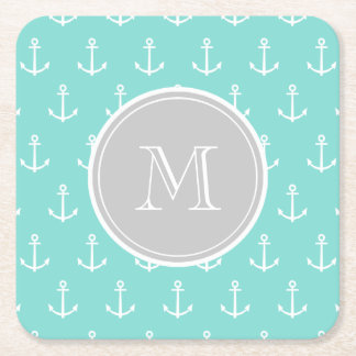 Mint Green White Anchors Pattern, Gray Monogram Square Paper Coaster