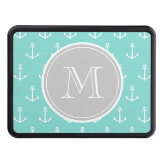 Mint Green White Anchors Pattern, Gray Monogram Tow Hitch Covers