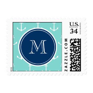 Mint Green White Anchors Pattern, Navy Blue Monogr Stamp