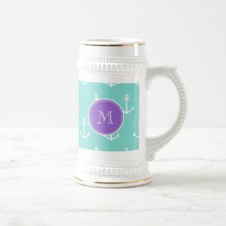 Mint Green White Anchors Pattern, Purple Monogram Beer Stein