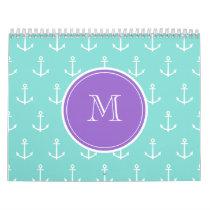Mint Green White Anchors Pattern, Purple Monogram Calendar