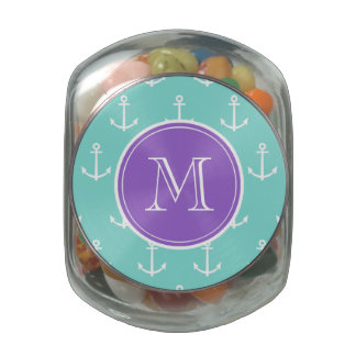 Mint Green White Anchors Pattern, Purple Monogram Jelly Belly Candy Jar