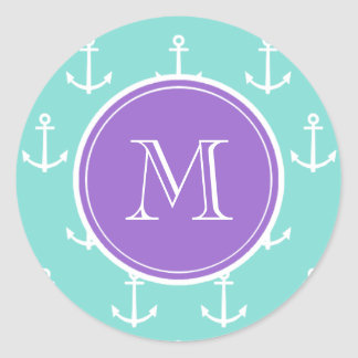 Mint Green White Anchors Pattern, Purple Monogram Classic Round Sticker