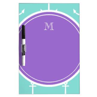 Mint Green White Anchors Pattern, Purple Monogram Dry-Erase Whiteboard