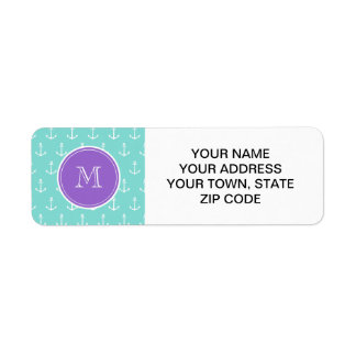 Mint Green White Anchors Pattern, Purple Monogram Custom Return Address Label