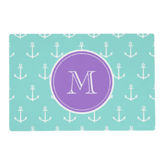 Mint Green White Anchors Pattern, Purple Monogram Laminated Placemat