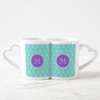 Mint Green White Anchors Pattern, Purple Monogram Lovers Mug Sets
