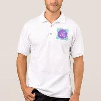 Mint Green White Anchors Pattern, Purple Monogram Polo Shirt