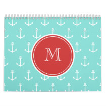 Mint Green White Anchors Pattern, Red Monogram Calendar
