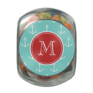 Mint Green White Anchors Pattern, Red Monogram Jelly Belly Candy Jar