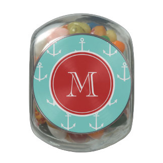 Mint Green White Anchors Pattern, Red Monogram Glass Candy Jars