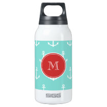 Mint Green White Anchors Pattern, Red Monogram Insulated Water Bottle