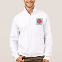 Mint Green White Anchors Pattern, Red Monogram Jacket