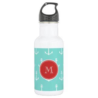 Mint Green White Anchors Pattern, Red Monogram Water Bottle