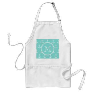 Mint Green White Anchors Pattern, Your Monogram Adult Apron
