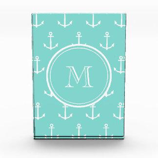 Mint Green White Anchors Pattern, Your Monogram Award