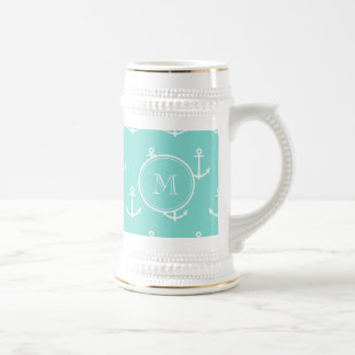 Mint Green White Anchors Pattern, Your Monogram Beer Stein