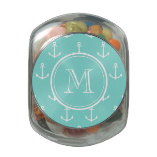 Mint Green White Anchors Pattern, Your Monogram Glass Candy Jar