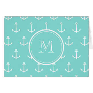Mint Green White Anchors Pattern, Your Monogram Card