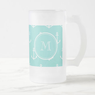 Mint Green White Anchors Pattern, Your Monogram Frosted Glass Beer Mug