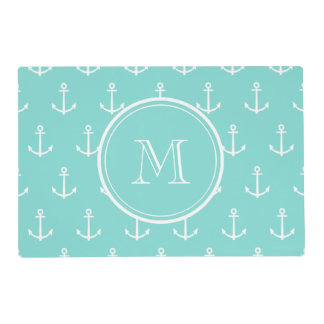Mint Green White Anchors Pattern, Your Monogram Laminated Place Mat