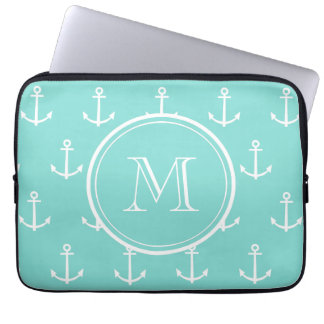 Mint Green White Anchors Pattern, Your Monogram Computer Sleeve