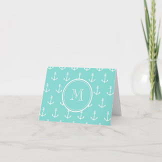 Mint Green White Anchors Pattern, Your Monogram Note Card