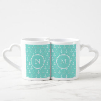 Mint Green White Anchors Pattern, Your Monogram Lovers Mug Set