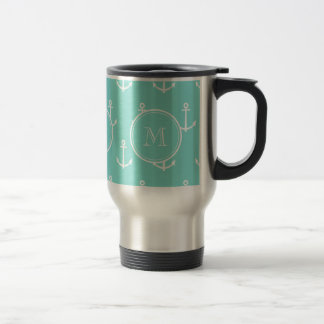 Mint Green White Anchors Pattern, Your Monogram Travel Mug