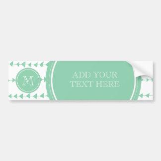 Mint Green White Aztec Arrows Monogram Bumper Sticker