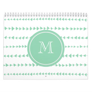 Mint Green White Aztec Arrows Monogram Calendar