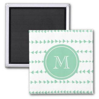 Mint Green White Aztec Arrows Monogram Magnets
