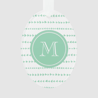 Mint Green White Aztec Arrows Monogram Ornament