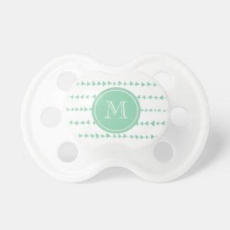 Mint Green White Aztec Arrows Monogram Pacifier