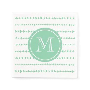Aztec Themed Mint Green White Aztec Arrows Monogram Paper Napkin