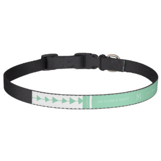 Mint Green White Aztec Arrows Monogram Pet Collar